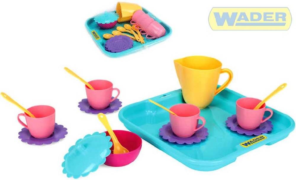 WADER Dětská sada nádobí set kuchyňský párty tác s doplňky 17 ks 22030