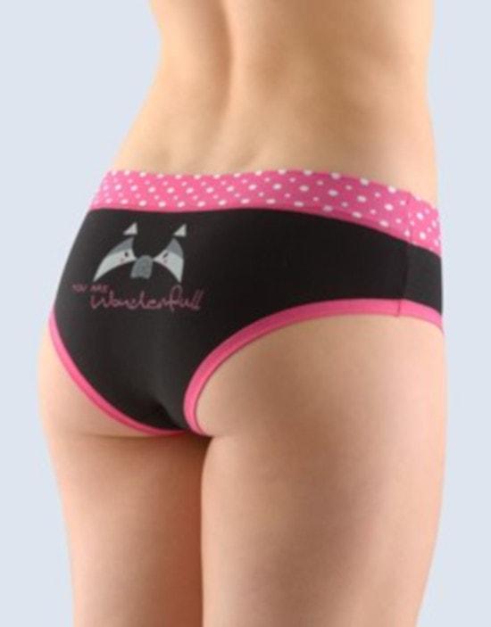 GINA dámské kalhotky francouzské, šité, bokové, s potiskem Funny 4 collection 14137P - purpurová černá