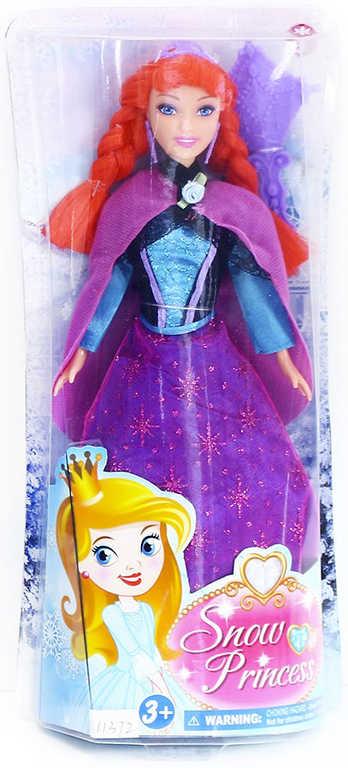 Panenka zimní království princezna 29 cm zrzka set s doplňky v krabičce
