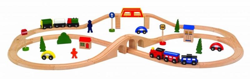 Eco toys Dřevěná vláčkodráha - 49 dílků