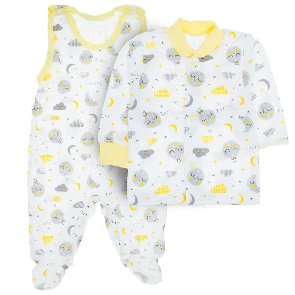 MBaby 2- dílná soupravička košilka + dupačky Dobrou noc, vel. 68 - žlutá - 68 (4-6m)