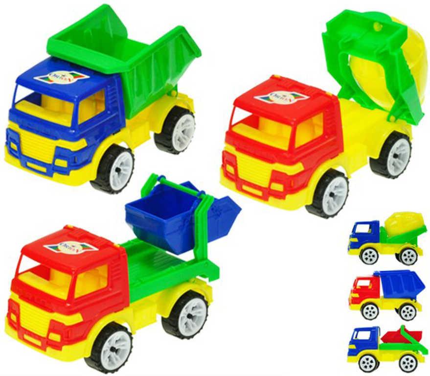 Auto barevné stavební 15-16cm volný chod 3 druhy plast