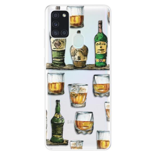 Odolné silikonové pouzdro iSaprio - Whisky pattern - Samsung Galaxy A21s