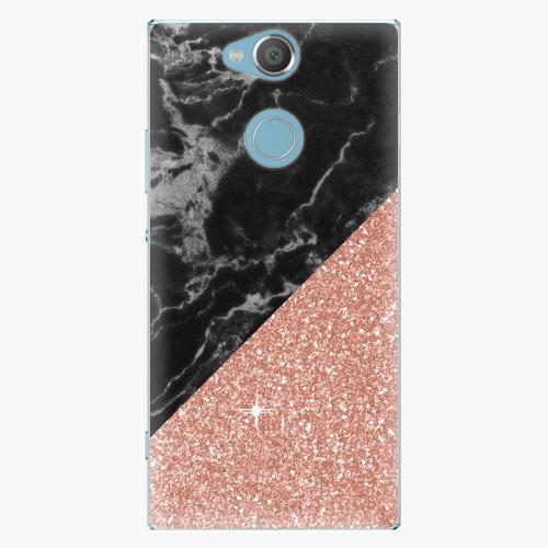 Plastový kryt iSaprio - Rose and Black Marble - Sony Xperia XA2