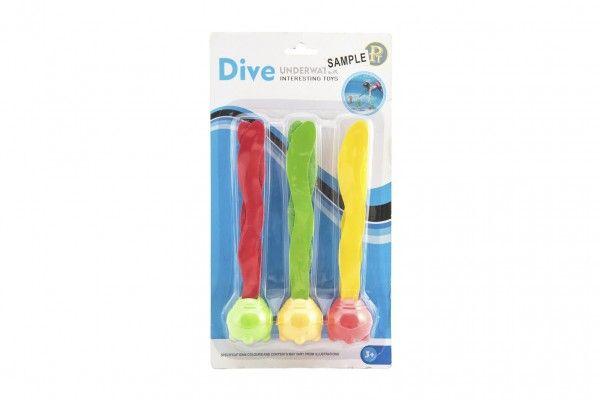 Zábavné míčky pro potápění 3ks plast 20cm na kartě
