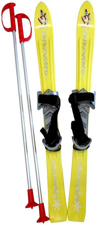 PLASTKON Lyže dětské Baby Ski 90cm carvingové Žluté s vázáním plast
