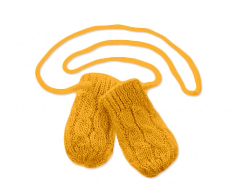 BABY NELLYS Zimní pletené kojenecké rukavičky se vzorem - hořčicové - 12cm rukavičky