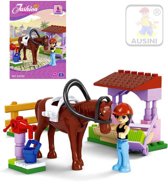 AUSINI Stavebnice DÍVČÍ SVĚT Koník se stříškou sada 45 dílků + 1 figurka