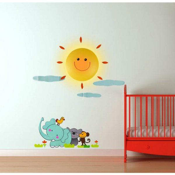 Samolepka a světlo na zeď - sluníčko a zvířátka