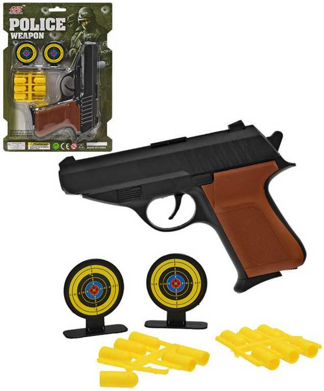 Pistole set s gumovými náboji a 2 terči na kartě plast