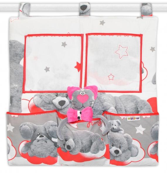 Kapsář na postýlku Medvídek hvězdička - šedý s červenou