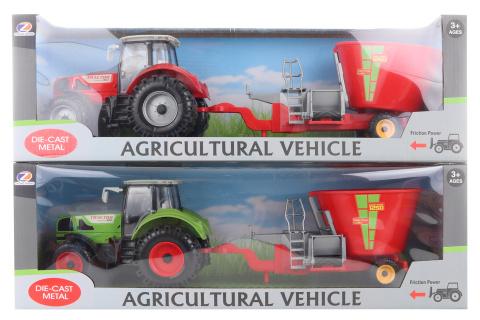 Traktor s krmným vozem