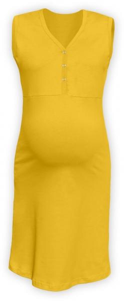 JOŽÁNEK Těhotenská, kojící noční košile PAVLA bez rukávu - žlutá