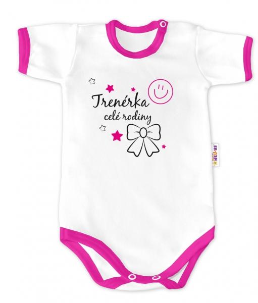 Baby Nellys Body krátký rukáv - Trenérka celé rodiny - bílé/růžový lem, vel.