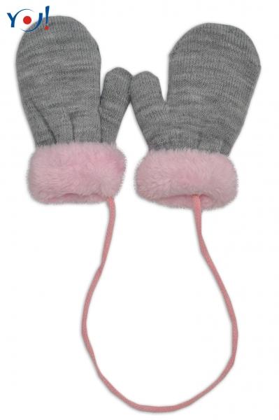 YO ! Zimní kojenecké rukavičky s kožíškem - se šňůrkou YO - šedé/růžový kožíšek - 10cm rukavičky