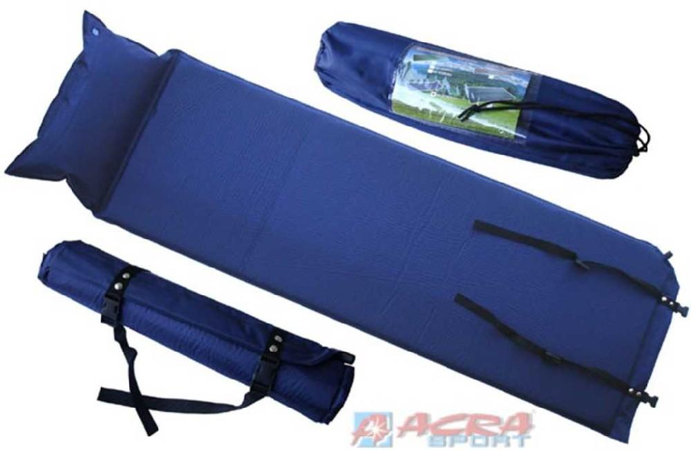 ACRA Karimatka samonafukovací s polštářem modrá 186 x 53 x 2,5 cm