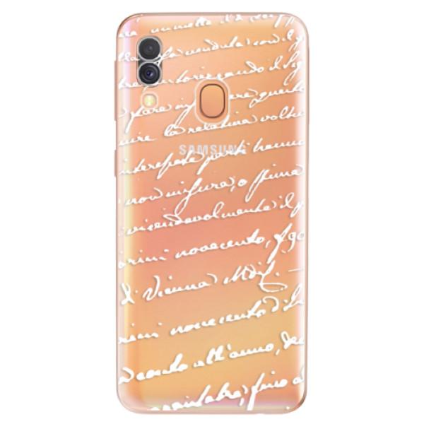 Odolné silikonové pouzdro iSaprio - Handwriting 01 - white - Samsung Galaxy A40