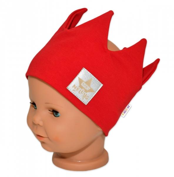baby-nellys-hand-made-bavlnena-celenka-dvouvrstva-korunka-cervena-44-48cm-3-7let-44-48-cepicky-obvod-3-7-let