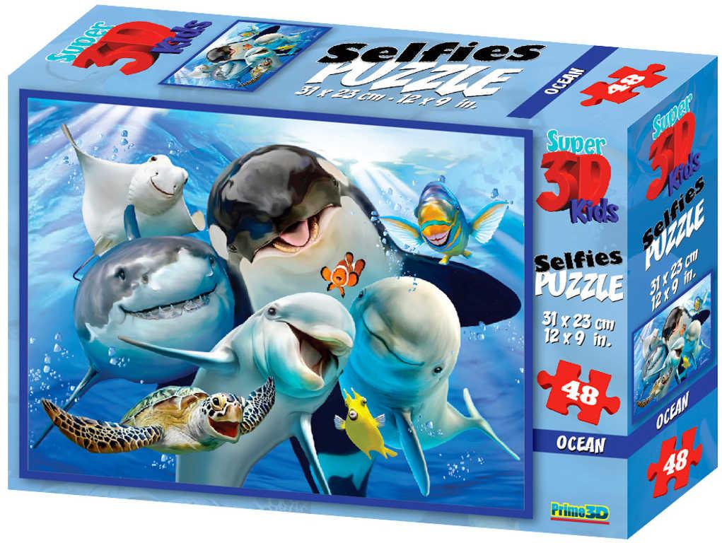 PUZZLE 3D Skládačka Podmořské selfie 31x23cm set 48 dílků v krabici