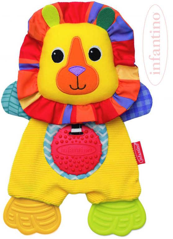 INFANTINO Baby muchláček lvíček textilní s kousátky pro miminko