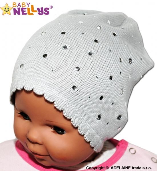 Čepička Baby Nellys ® s kamínky - šedá - 40/46 čepičky obvod