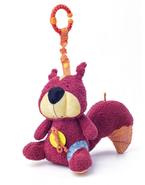 Závěsná plyšová hračka s chrastítkem Veverka Apia