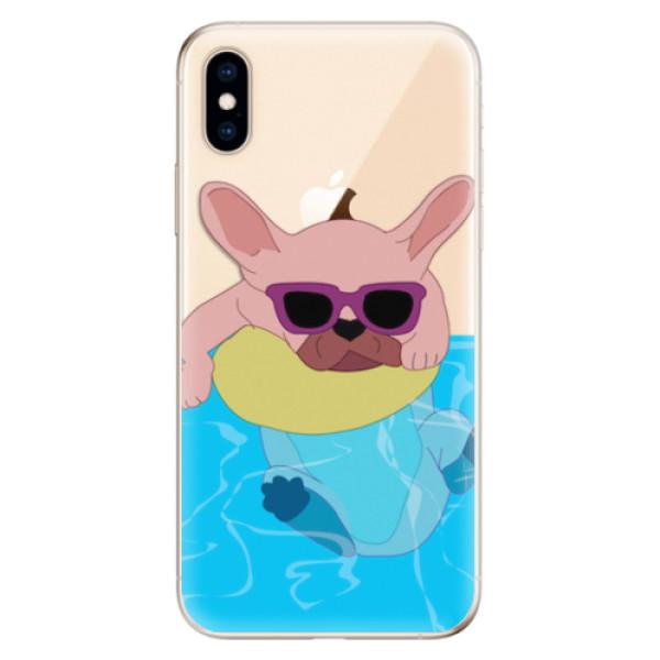 Odolné silikonové pouzdro iSaprio - Swimming Dog - iPhone XS