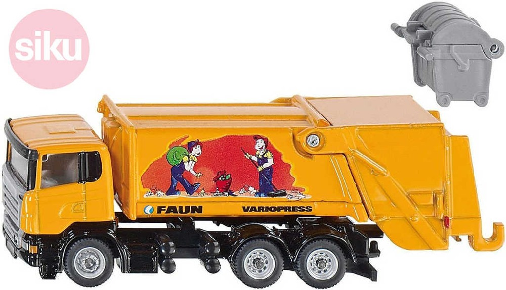 SIKU Auto popeláři Scania set s kontejnerem Faun model 1:87 kov