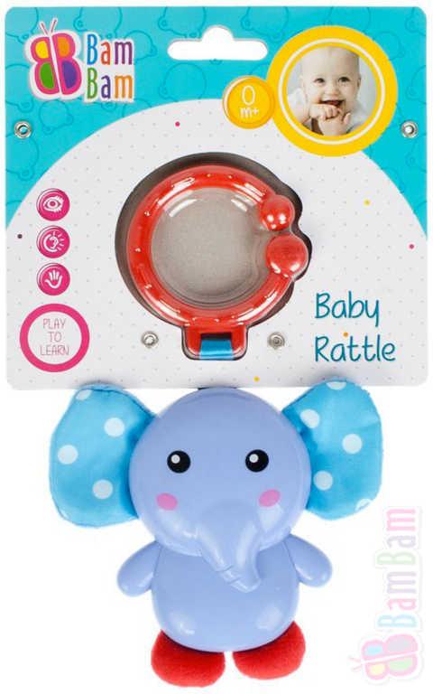 ET BAM BAM Baby chrastítko slon přívěsek s klipem pro miminko