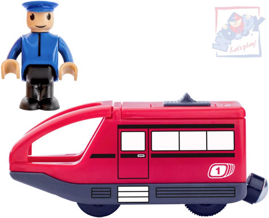 WOODY DŘEVO Vlaková sada mašinka moderní elektrická červená + strojvedoucí