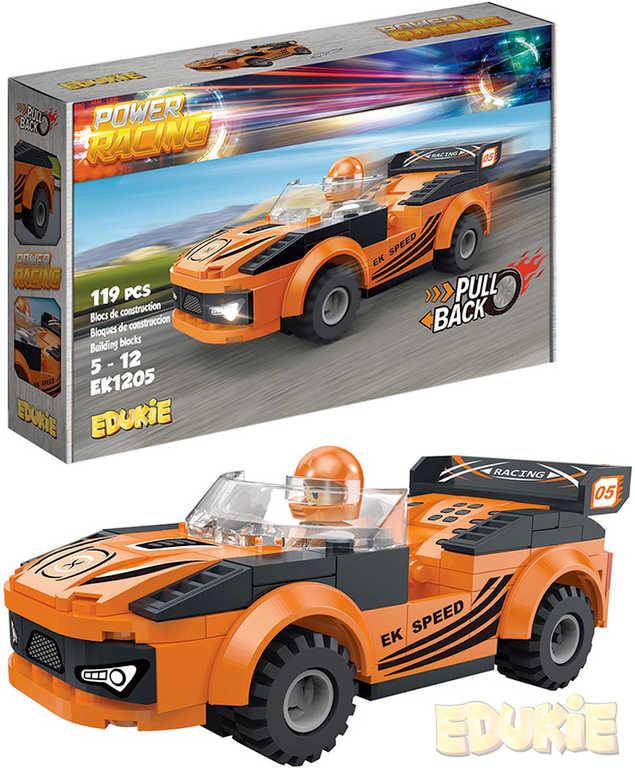 EDUKIE Auto oranžové závodní set 119 dílků + figurka STAVEBNICE