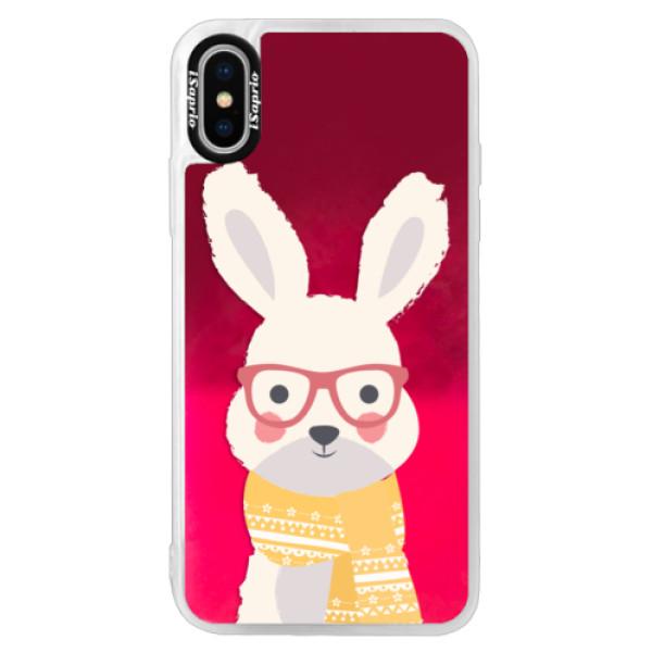 Neonové pouzdro Pink iSaprio - Smart Rabbit - iPhone X