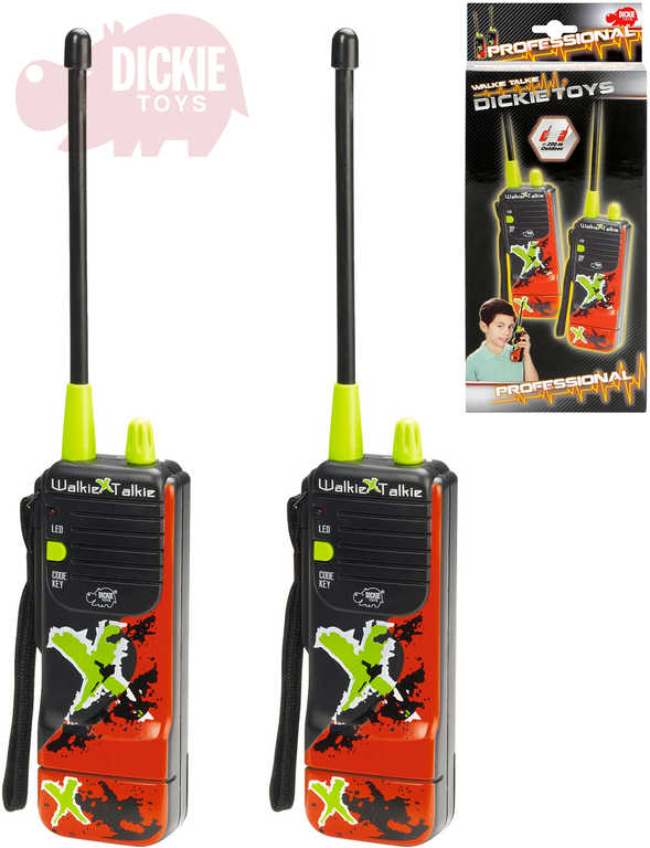 DICKIE Vysílačky dětské Walkie Talkie Extreme 16cm na baterie set 2 ks na kartě