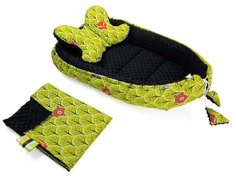 baby-nellys-sada-komplet-oboustranne-hnizdecko-kokon-minky-60x90cm-lesik-zeleny