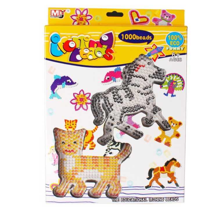 Zažehlovací korálky 1000ks kůň a kočka set s 2 předlohami a doplňky