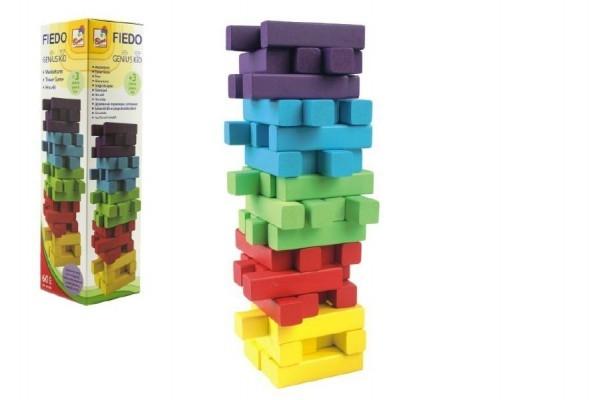 teddies-hra-jenga-vez-drevo-60ks-barevnych-dilku-hlavolam-v-krabicce-7-5x27-5cm
