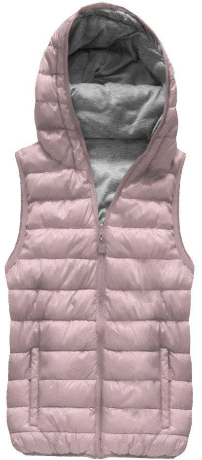 Oboustranná vesta ve starorůžové barvě s kapucí (B1002)