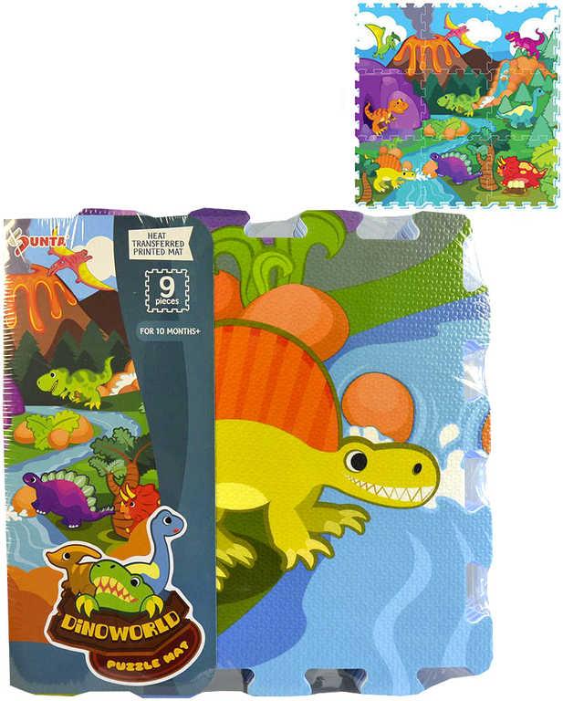Baby puzzle pěnový koberec na zem dinosauři 92x92cm set 9ks měkké bloky