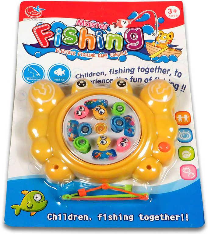 Hra Rybky dětský rybolov magnetický set se 2 udicemi na kartě plast Zvuk 3 barvy