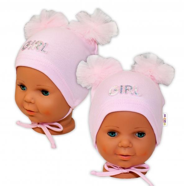 Bavlněná čepička na zavazování Baby Nellys s mašličkami Tutu - sv.