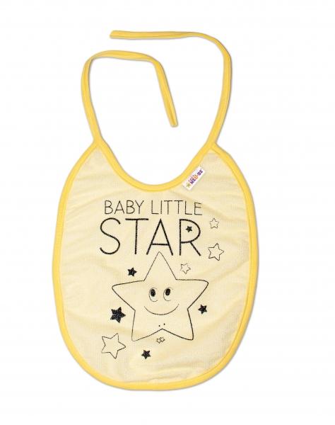 Nepromokavý bryndáček Baby Nellys velký Baby Little Star, 24 x 23 cm - žlutá