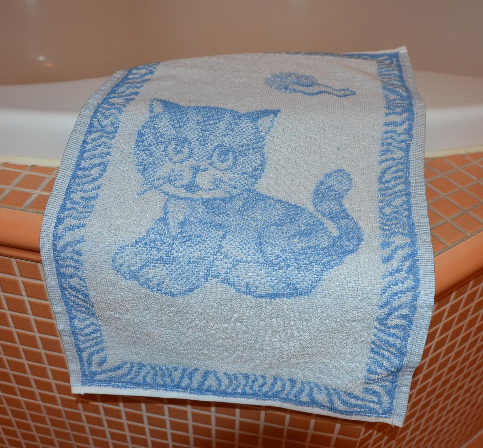 Dětský froté ručník 50x30cm Kotě modré
