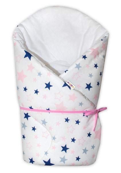Zavinovačka na zavazování Hvězdy a hvězdičky - růžová/granát na bílém