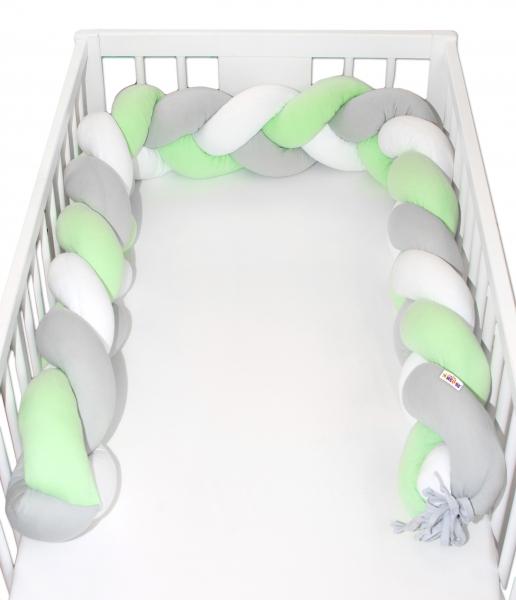 Mantinel Baby Nellys pletený cop - zelená, bílá, šedá - 200x16