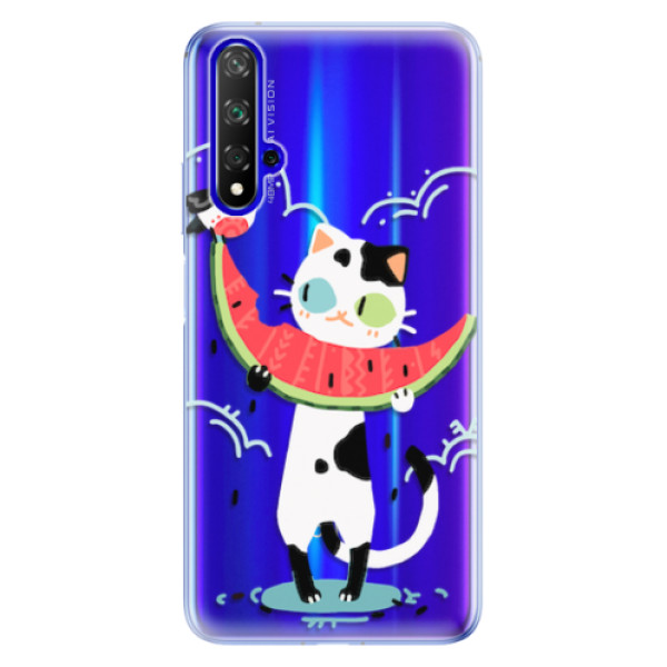 Odolné silikonové pouzdro iSaprio - Cat with melon - Huawei Honor 20