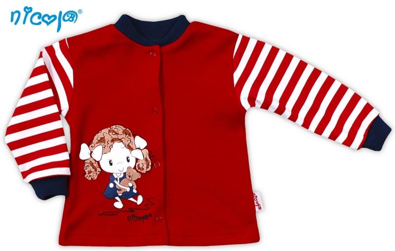 Bavlněná košilka NICOL ALA - červená s proužkem - 56 (1-2m)