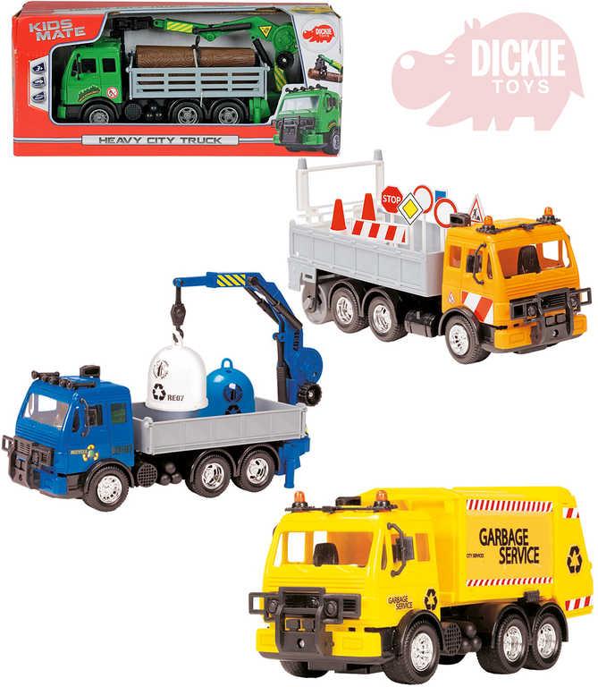 DICKIE Auto funkční nákladní 25cm Heavy City Truck set s doplňky 4 druhy plast