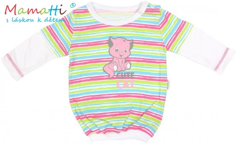 Halenka/tričko dlouhý rukáv Mamatti CAT - bílé/barevné proužky