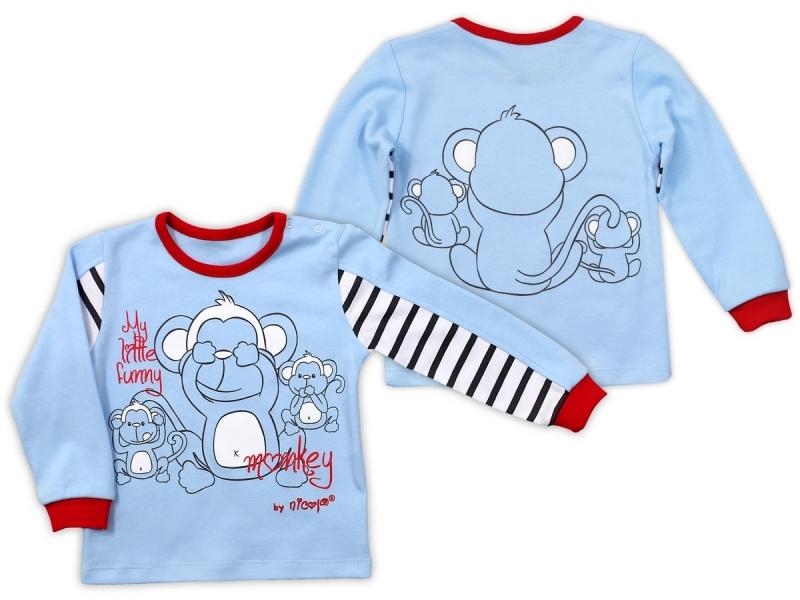 Bavlněné tričko Nicol Monkey dlouhý rukáv - sv. modrá - 74 (6-9m)