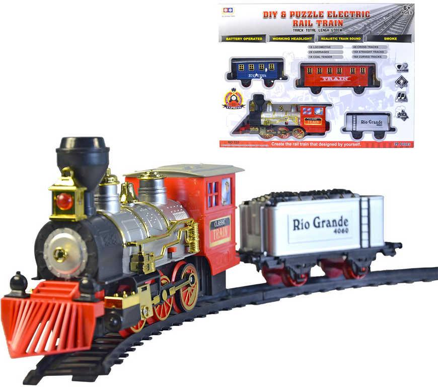 Souprava vlaková mašinka kouřící se 3 vagonky a kolejemi na baterie Světlo Zvuk